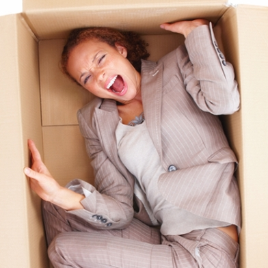 woman trapped in a box